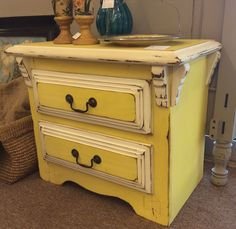 $79.95 Gorgeous bright yellow 2 drawer nightstand found in Marietta on Sun 9/21 - A Classy Flea (alli) 1355 Roswell Rd (770)579-2555