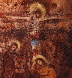 Bohuslav Reynek - Crucifixion III (end of 1950's) #graphics #painting #art #Czechia #CzechArt