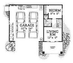 2 Car Garage Apartment Plan 91263 with 1 Beds, 1 Baths This would be perfect for me on a large lot. I love this 2 car, single story garage with living space for a guest house Garage With Living Quarters, Garage To Living Space, Small Garage, Garage Apartment Floor Plans, Garage Apartments, Garage With Apartment, Garage Renovation, Garage Remodel, Garage Makeover