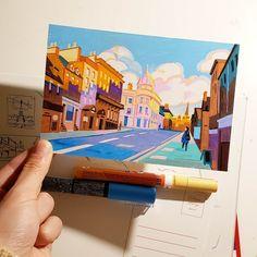 angela pan Marker Kunst, Marker Art, Pen Art, Posca Art, Guache, Arte Sketchbook, Building Art, Environment Concept Art, Sketch Markers