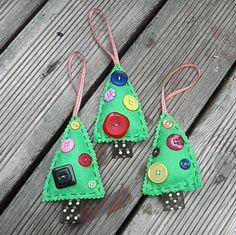 Christmas Tree Felt Decoration, Holidays, Tree Ornament - Handmade / Handstitched. $6.00, via Etsy.