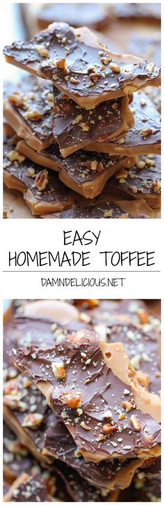 Easy Homemade Toffee – An unbelievably easy, no-fuss, homemade toffee recipe. So addictive, you wont want to share! Easy Homemade Toffee – An unb Homemade Toffee, Homemade Candies, Homemade Candy Recipes, Homemade Chocolate, Just Desserts, Delicious Desserts, Dessert Recipes, Health Desserts, Holiday Baking
