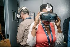 """An awesome Virtual Reality pic! Carry Fils-Aime director of Haiti's Le Sel Foundation committed to the empowerment of Haitian solar salt workers experiences """"Clouds over Sidra"""" a virtual reality app that transports the viewer to Zaatari refugee camp in Jordan during the Social Good Summit held at the 92nd Street Y September 27th 2015.  The Social Good Summit is a two-day conference examining the impact of technology and new media on social good initiatives around the world. Held during UN…"""