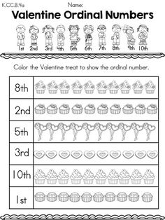 Valentine Ordinal Numbers >> Color object according to ordinal position >> Part of the Valentine's Day Kindergarten Math Worksheets Packet