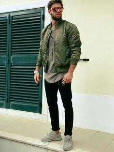 Green Jacket + Gray T Shirt + Black Pant + Adidas Yeezy Moonrock