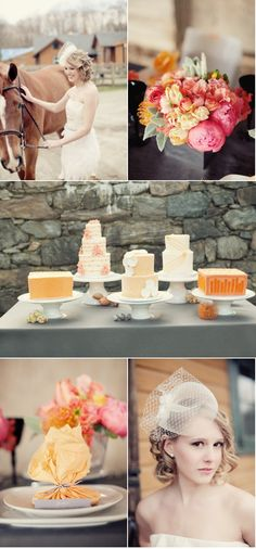 Middle photo: Probably just going to go with one wedding cake, but I love the look of multiple cakes!