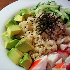 California Roll in a Bowl. Made this tonight and it is so one of my new faves!!! Must be had with wasabi and soy sauce ;).