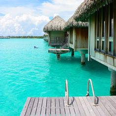 Honeymooners flock to Bora Bora, where the overwater bungalow concept was born in the 1960s and the lagoon is so brilliantly blue that you can't take a bad picture. Photo courtesy of bontraveler on Instagram.