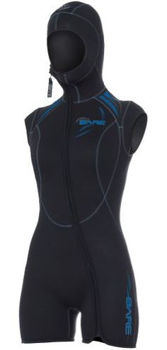 2a8e40c884 Bare Women's Sport 5mm Hooded Vest Wetsuit, Blue - 12T. Bare Sizing  Chartwomen'