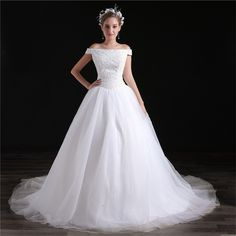 Ball Gown Off The Shoulder Drop Waist Tulle Beaded Wedding Dress