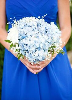 Blue Hydrangea and Baby's Breath Bouquet | Nicole Dixon Photographic | blog.theknot.com