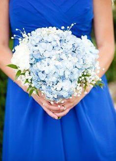 Blue Hydrangea and Baby's Breath Bouquet   Nicole Dixon Photographic   blog.theknot.com