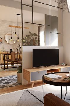 Peeking on Modern and Minimalist Room Partition with Half Glass on It Living Room Partition Design, Room Partition Designs, Glass Partition, Home Room Design, Home Interior Design, Living Room Designs, Home Living Room, Living Room Decor, Living Room Glass Table