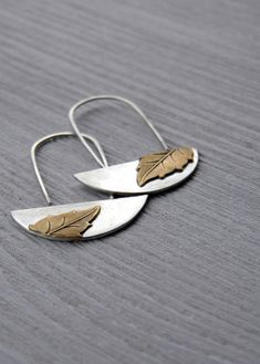 Vintage Leaf Earrings - Antiqued sterling silver, vintage brass dangle earrings