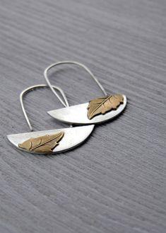 Vintage Leaf Earrings - Antiqued sterling silver, vintage brass dangle earrings