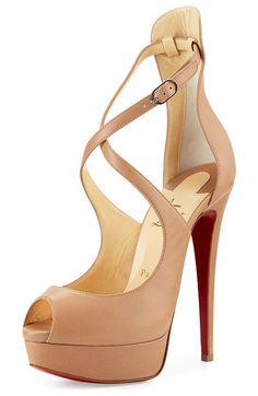 "Marlenalta leather 150mm red sole pump by Christian Louboutin. Christian Louboutin napa leather pump. 6. 25"" covered stiletto heel; 1. 125"" platform; 5. 125"" eq..."