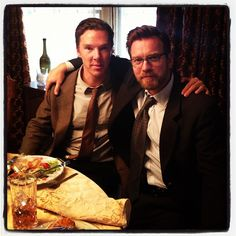 Benedict & Ewan filming August Osage County, November 2012// Oh too much handsome.