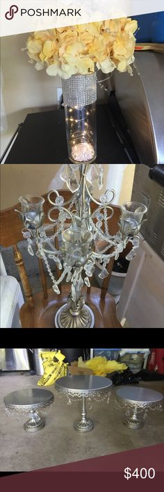 """Additional pictures of decorations 50- used tea light candle holders, 12- circular mirrors, 12-silver table number holders, 1-12 numbered cards-used, 13-25  numbered cards new, 5-new yellow table runners, 9- gently used yellow table runners, 9-tall vases with flowers, lights and crystals, 2-short vases completely covered in """"bling"""", comes with lights and flowers. Other"""