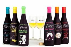 Wine bottle covers that celebrate the milestones in the first year of marriage. The perfect unique gift for bridal showers, engagement parties or any soon-to-be newlywed! Cheers! #bridalshowerideas #winegifts