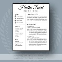 stylish resume template the heather