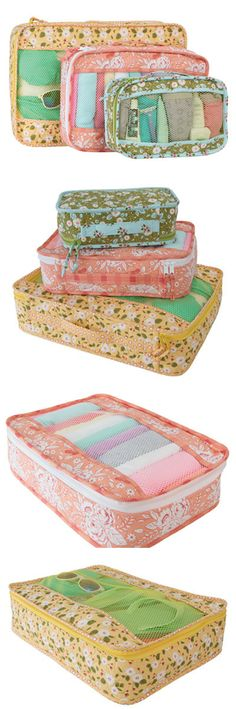 Sewing pattern for 3 sizes of these handy mesh organisers and storage bags. I've made a bunch of these to use in my case on vacation. For everything from cosmetics to shoes, to laundry - this sewing pattern is excellent!