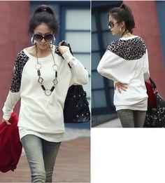 de81f04670 Fashion Women Ladies Leopard Print Long Casual Loose Batwing Sleeves Top  Tunic Splicing T-shirt