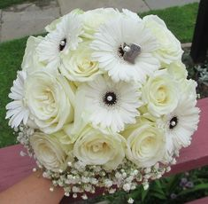 Click to view All White Bouquet with Roses, Gerbera Daisies, and Babies Breath Collaring