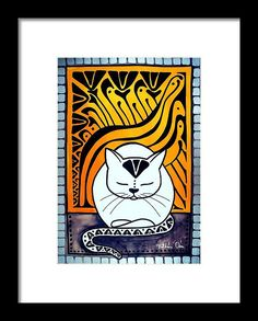 Meditation Framed Print Cat Art by Dora Hathazi Mendes. Cats knows best when is about meditation, relaxing mind and body. They exactly know when to switch off the engine, and when they need to recharge the batteries. Purring, is their feline version for chanting, and although we don't know exactly why they do it, the effect is obvious, the whole world calm down around them, even us just being in their aura, and listening their monotone chant. Cat Paintings by #dorahathazi