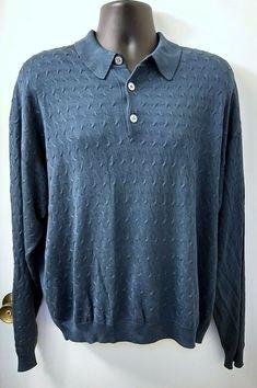 66eaf54afe6 Neiman Marcus Mens Silk Sweater Size 2XL Blue 3 Button Front Neckline  Textured #NeimanMarcus #