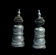 Miniature Stupas, 6th century. Central Myanmar. Lent by National Museum of Myanmar, Yangon (1619 [left], 1620 [right]) | Cylindrical stupa models were widely favored as containers for sutras (sacred texts) in both South and East Asia and likely served the same function in a Pyu Buddhist setting. #LostKingdoms