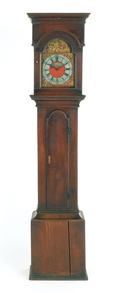 Lancaster, Pennsylvania Queen Anne walnut tall case clock, ca. 1770, the flat top bonnet enclosing a thirty-hour works, signed George Hoff Lancaster, retaining an old dry surface, 83 inches high.