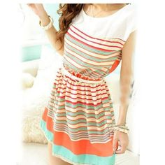 Sweet And Fashion Colorful Stripes Chiffon Dress With