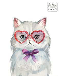 Grumpy Cat Watercolor Print - Persian Cat - Retro Cat - Cat Art  - Hipster - Animal Art - Nursery Art - Cat Painting