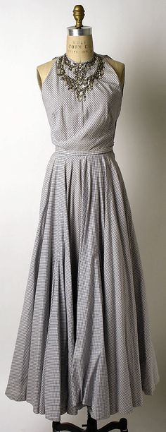 Checked cotton evening dress with glass bead and rhinestone embellishment, by Mainbocher, American, ca. 1948.
