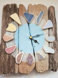 Stunning Sea Pottery Driftwood Clock - available to purchase here / click the image or link for more info. Driftwood Projects, Driftwood Art, Driftwood Ideas, Sea Glass Crafts, Sea Glass Art, Beach Crafts, Diy And Crafts, Diy Clock, Clock Ideas