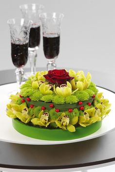 Flower cake with orchids