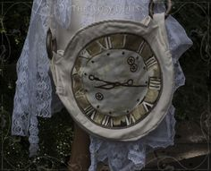 OOAK Clock Face Bag, and OOAK Faery Bustle Wrap Skirt. By The Ivory Dolls.