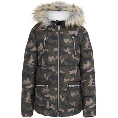 New Look Teens Khaki Camo Print Fauf Fur Trim Puffer Jacket ($36) ❤ liked on Polyvore featuring outerwear, jackets, khaki, camo puffer jacket, camouflage puffer jacket, fur trim puffer jacket, puffy jacket and camo print jacket