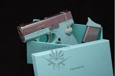 Tiffany & Co. Gun *Unfortunately The photo of a gun from Tiffany & Co. is a real photo, but the gun is not a product of Tiffany's. It was refinished to match a Tiffany's box by Kilo Guns. Tiffany Gun, Tiffany And Co, Tiffany Stone, Kahr Arms, Just In Case, Just For You, By Any Means Necessary, Home Protection, Thing 1