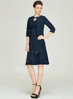 A-Line/Princess V-neck Knee-Length Cascading Ruffles Zipper Up Sleeves Sleeves Yes 2015 Dark Navy Spring Summer Fall General Plus Chiffon Lace Mother of the Bride Dress Mother Of Groom Dresses, Bride Groom Dress, Mother Of The Bride, Bride Dresses, Fall Wedding Outfits, Wedding Party Dresses, Dressy Dresses, Dresses For Work, Summer Dresses
