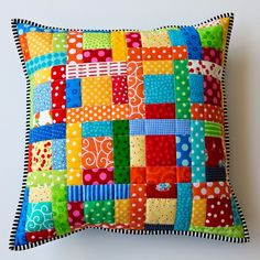How to make your own pillow shapes of any size - Quilting DigestSimple patchwork pillow tutorial.: Scrappy quilted patchwork pillowBlock Print and Stone Wash Patchwork PillowcasesBlock Print and Stone Wash Patchwork Mini Quilts, Scrappy Quilts, Small Quilts, Baby Quilts, Patchwork Cushion, Quilted Pillow, Patchwork Quilting, Patchwork Ideas, Hexagon Patchwork