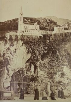 Photo of grotto at Lourdes taken on 1881 tour of France & Italy made by Archbishop Tait. MS 2166, f.22