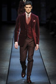 """FALL 2013 MENSWEAR  Canali  /   The runway's love affair with Russia continues. Its latest paramour is Canali. But as Elisabetta Canali explained backstage after the show, that made a kind of meet-me-in-Saint Petersburg sense. """"It's the most Italian city in Eastern Europe,"""" she said. """"It was designed by Italian architects."""" Russian style, Canali style—they've got at least a love of luxe in common. For years, Canali has been bolder than some of the other lines in its Italian-suiting age…"""