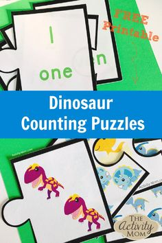 Dinosaur Counting Puzzles - FREE Printable Counting Activity for Kids  #dinosaur #counting #puzzle #kids #preschooler #toddler Free Math Games, Dinosaur Activities, Puzzles For Toddlers, Counting Activities, Toddler Learning Activities, Math For Kids, Book Activities, Preschool Activities, Counting Puzzles