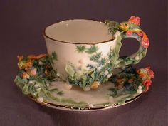 Porcelain Art Tea Cup & Saucer from zotovaelena.
