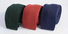 Cravate homme soie tricot vert rouge bleu