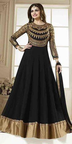 Lovable Black Georgette Anarkali Suit With Chiffon Dupatta.