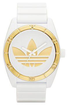 adidas Originals 'Santiago' Metallic Accent Watch, 42mm available at Nordstrom
