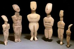 Cycladic Figurines.  Notice the shape of their heads.