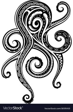 Octopus Tattoo Design, Octopus Tattoos, Tribal Tattoos, Polynesian Tattoos, Filipino Tattoos, Hawaiianisches Tattoo, Tattoo Blog, Tattoo Maori, Flower Tattoos